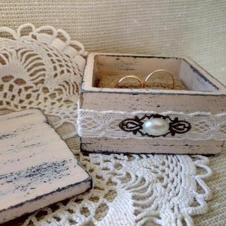 Подушка для обручальных колец Шкатулка для колечек Свадьба в стиле прованс рустик шебби шик