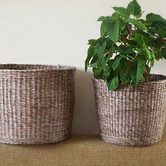 Большие плетеные корзины для хранения