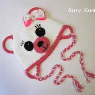 Вязаная плюшевая мягенькая шапочка Мишка для девочки, 42-44