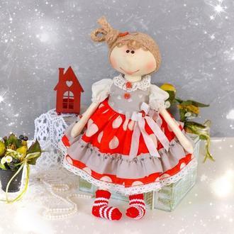 Текстильная игровая кукла в платье. Кукла тыквоголовка ручной работы. Интерьерные игрушки и куклы.