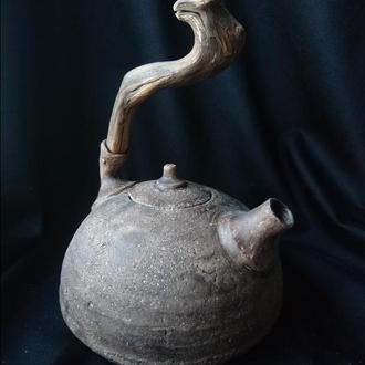 чайник шамотный с деревянной в стиле бохо