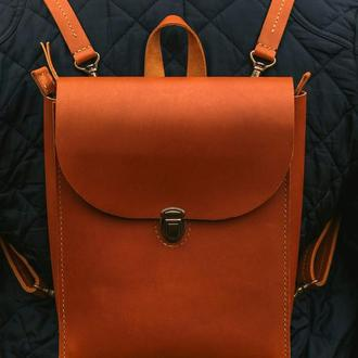Рыжий кожаный рюкзак