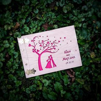 Свадебный фотоальбом из дерева + Подарок