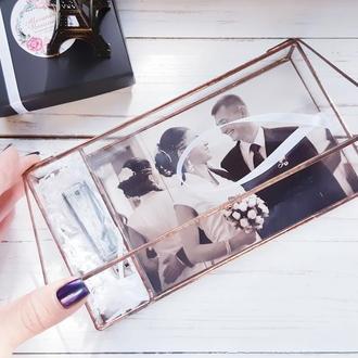 Стеклянная шкатулка для памятных фото и флешки