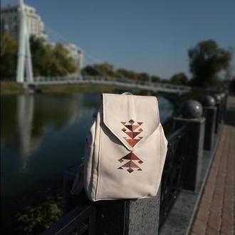 Молочный рюкзак 💯 кожа с геометрическим рисунком акрилом