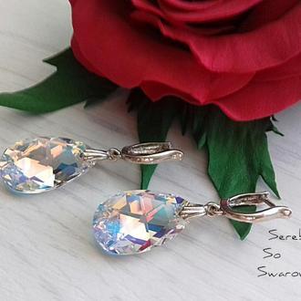 Серебряные серьги с подвесками Сваровски