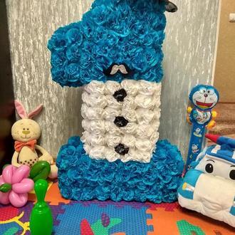 Цифра 1 один для маленького джентльмена!синяя с белым!возможно изготовление в любом цвете и размере!