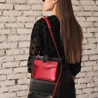 Эксклюзивная сумка из чёрной и красной кожи