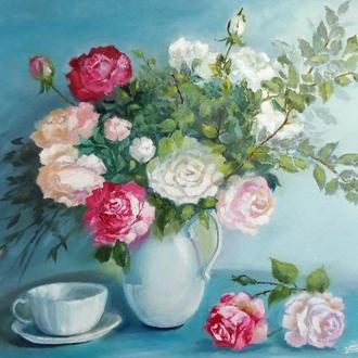 """Подарочная картина маслом """"Натюрморт с розами"""" 50 х 40"""