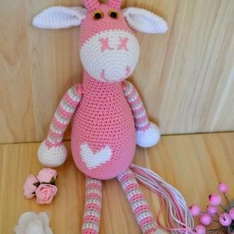 Жираф 35см вязаный Розовый амигуруми вязаные игрушки в подарочной коробке