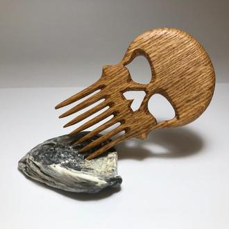 Гребень деревянный для волос, усов и бороды Череп