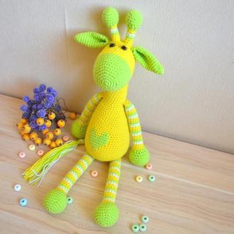 Жираф 35 см вязаный Салатовый амигуруми вязаные игрушки в подарочной коробке