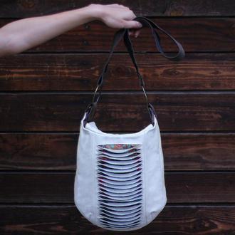 Кожаная бохо сумка - баул