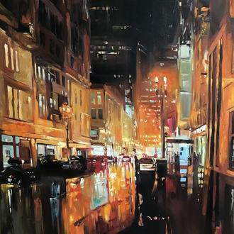 Интерьерная картина маслом Ночной город