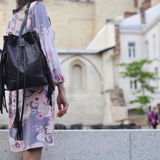 Кожаный рюкзак - сумка