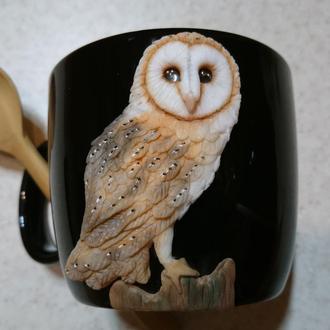 Чашка с совой сипухой