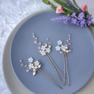 Свадебное украшение в прическу. Шпильки для волос