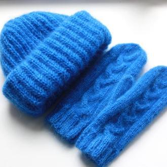 Мохеровый комплект шапка и варежки