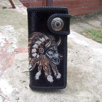 Кожаный кошелек волк, портмоне с волком, кожаный мужской кошелёк