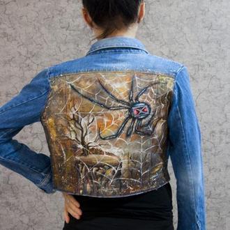 Ручная роспись джинсовки, джинсовый пиджак, куртка