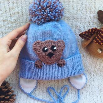 Зимняя шапка для ребёнка, шапка с ушками и помпоном для годовалого мальчика для новорождённого,