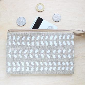 Льняной кошелек с двумя отделениями для купюр и одним для карточек