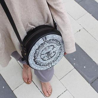 Круглая кожаная сумка через плечо, Маленькая женская сумка с росписью
