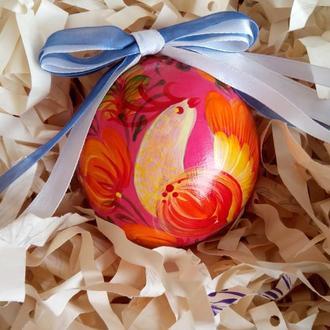Новогодняя игрушка, деревянный елочный шар с ручной росписью