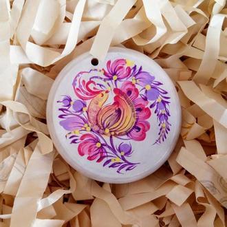 Новогодняя игрушка, деревянный медальон с ручной росписью