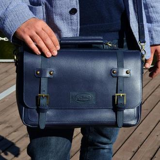 Кожаная сумка-мессенджер для мужчин (Синяя)