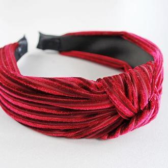Обруч / ободок / повязка /бордовый (красный) широкий бархатный, аксессуар для волос
