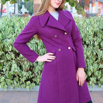 Пальто Шерсть фиолетовое