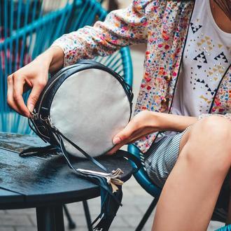Женская кожаная сумка Металлик