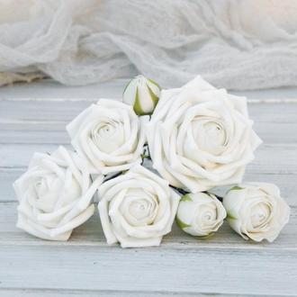Набор шпилек с розами, Свадебные шпильки с цветами, Белые цветы в прическу невесте