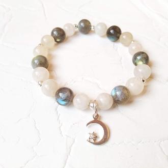 Срібний браслет Місячне сяйво з лабрадориту та місячного каменю