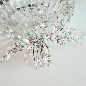 Свадебное украшение для волос, гребешок в прическу, украшение в прическу, аксессуары в прическу