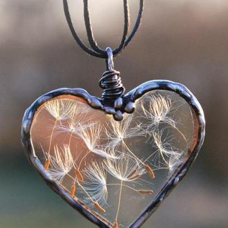 Кулон сердце с одуванчиком, Подвеска из стекла, Подарок для девушки