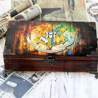 Большая шкатулка Хогвардс , Гарри Поттер , Гриффиндор, Слизерин , Пуффендуй , Когтевран, на 8 ячеек