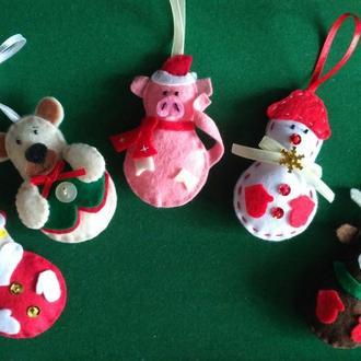 Ёлочные игрушки из фетра ручной работы