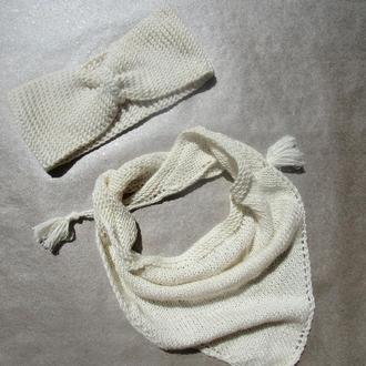 Вязаный комплект из повязки и бактуса для девочки