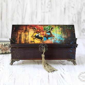 Шкатулка Хогвардс , Гарри Поттер ,подарок мужчине, подарки к Рождеству, подарки к Новому Году