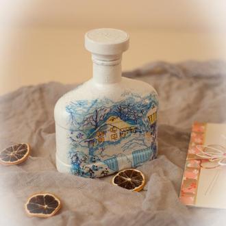 Бутылка с зимними мотивами