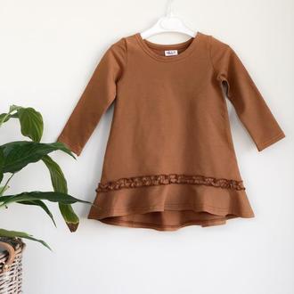 Платье для девочки с воланом цвет Карамель