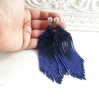 Синие серьги с хрустальными бусинами, бисерные серьги, серьги-кисти, сині бісерні сережки