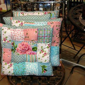 Подушка- сидушка печворк,  эксклюзивное сиденье для стула в стиле коттеджкор