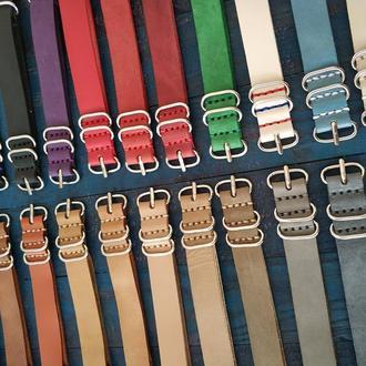 Кожаные ремешки для часов ,Кожаный ремешок Nato Zulu из натуральной кожи ручной работы ПОДАРОК