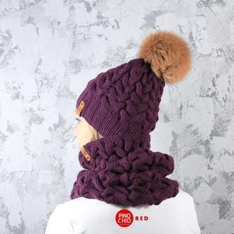 Вязаные шарф-снуд и шапка с меховым бубоном