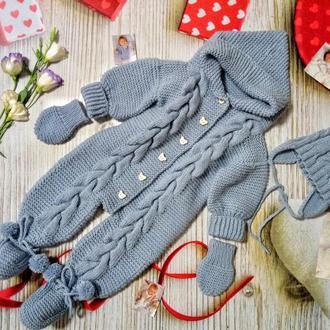 Комбенизон вязаный,вязаный костюм,комплект на осень-зиму,комбенизон осенний