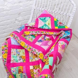 детское одеяло пэчворк, лоскутный плед,стеганое розовое покрывало, подарок на Николая для девочки