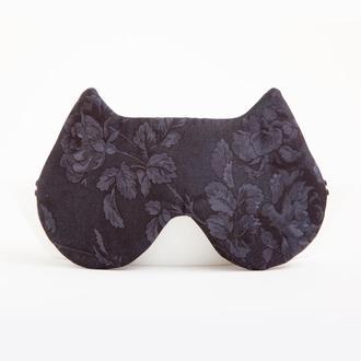 Маска для сна кошка, подарок на новый год, подарок маме, черная маска для сна кот